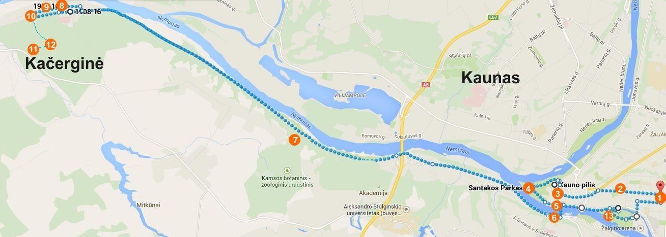 Kaunas Kačerginė Žemėlapis