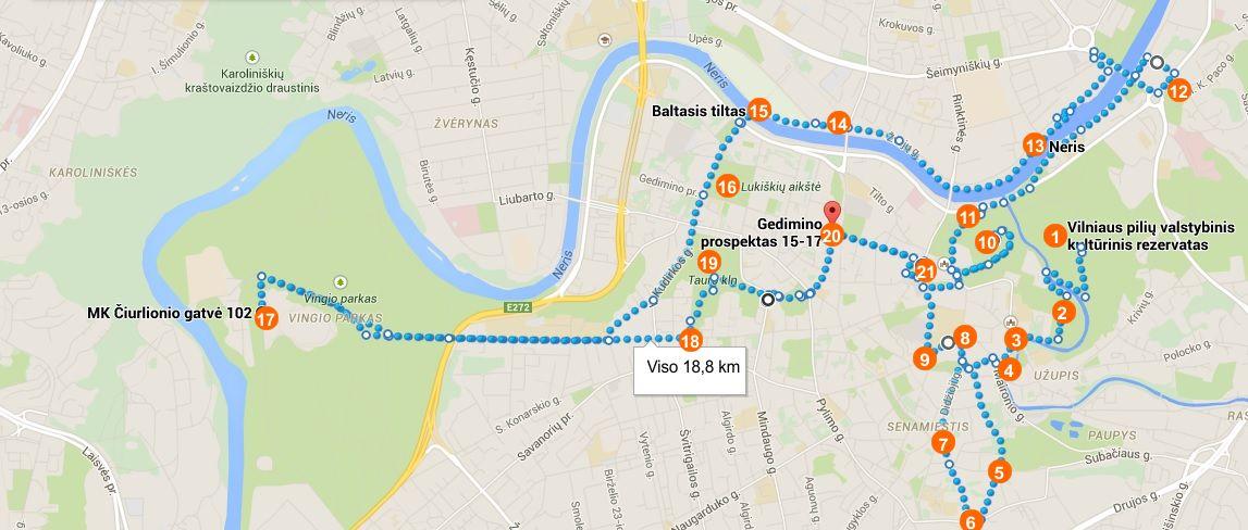 Vilniaus Žemėlapis 18,8 Km 2 h